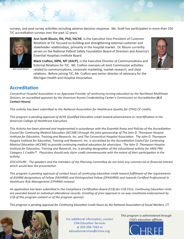 CTAHE/CHA - 2017 Joint Commission Standards and National